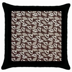 Dried Leaves Grey White Camuflage Summer Throw Pillow Case (black)