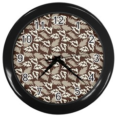 Dried Leaves Grey White Camuflage Summer Wall Clocks (black)