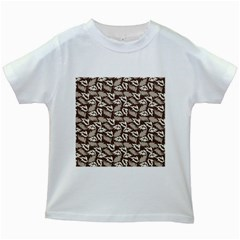 Dried Leaves Grey White Camuflage Summer Kids White T Shirts
