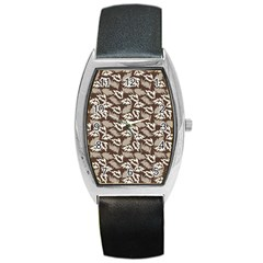 Dried Leaves Grey White Camuflage Summer Barrel Style Metal Watch
