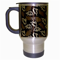 Dried Leaves Grey White Camuflage Summer Travel Mug (silver Gray)