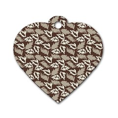 Dried Leaves Grey White Camuflage Summer Dog Tag Heart (two Sides)