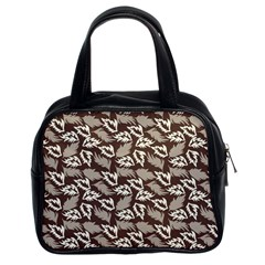 Dried Leaves Grey White Camuflage Summer Classic Handbags (2 Sides)
