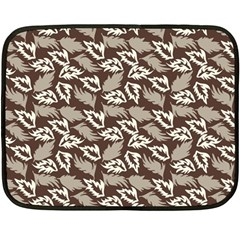 Dried Leaves Grey White Camuflage Summer Double Sided Fleece Blanket (mini)