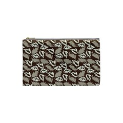 Dried Leaves Grey White Camuflage Summer Cosmetic Bag (small)
