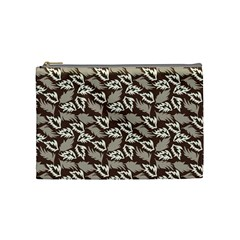 Dried Leaves Grey White Camuflage Summer Cosmetic Bag (medium)