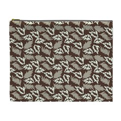 Dried Leaves Grey White Camuflage Summer Cosmetic Bag (xl)