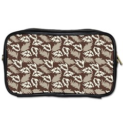 Dried Leaves Grey White Camuflage Summer Toiletries Bags 2 Side