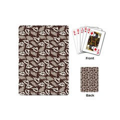 Dried Leaves Grey White Camuflage Summer Playing Cards (mini)