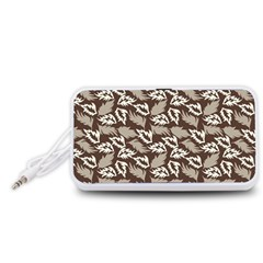 Dried Leaves Grey White Camuflage Summer Portable Speaker (white)