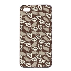 Dried Leaves Grey White Camuflage Summer Apple Iphone 4/4s Seamless Case (black)