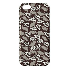 Dried Leaves Grey White Camuflage Summer Apple Iphone 5 Premium Hardshell Case