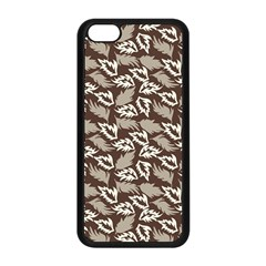 Dried Leaves Grey White Camuflage Summer Apple Iphone 5c Seamless Case (black)