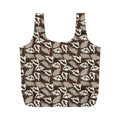 Dried Leaves Grey White Camuflage Summer Full Print Recycle Bags (m)