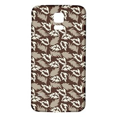 Dried Leaves Grey White Camuflage Summer Samsung Galaxy S5 Back Case (white)