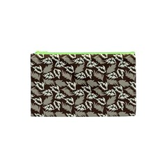 Dried Leaves Grey White Camuflage Summer Cosmetic Bag (xs)