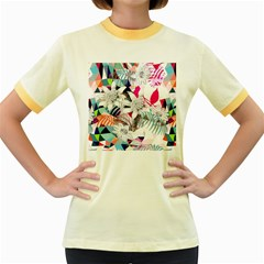 Flower Graphic Pattern Floral Women s Fitted Ringer T Shirts