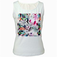 Flower Graphic Pattern Floral Women s White Tank Top