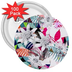 Flower Graphic Pattern Floral 3  Buttons (100 Pack)