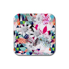 Flower Graphic Pattern Floral Rubber Coaster (square)