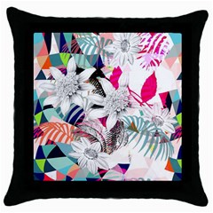 Flower Graphic Pattern Floral Throw Pillow Case (black)