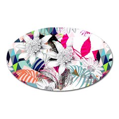 Flower Graphic Pattern Floral Oval Magnet