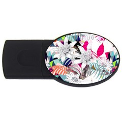 Flower Graphic Pattern Floral Usb Flash Drive Oval (2 Gb)