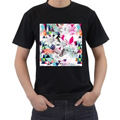 Flower Graphic Pattern Floral Men s T Shirt (black) (two Sided)