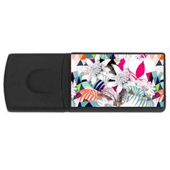 Flower Graphic Pattern Floral Rectangular Usb Flash Drive