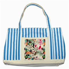 Flower Graphic Pattern Floral Striped Blue Tote Bag