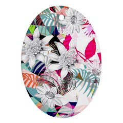 Flower Graphic Pattern Floral Oval Ornament (two Sides)
