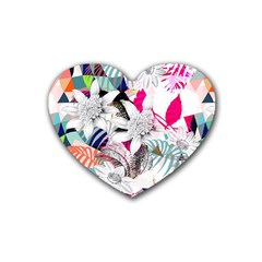 Flower Graphic Pattern Floral Heart Coaster (4 Pack)