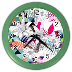 Flower Graphic Pattern Floral Color Wall Clocks