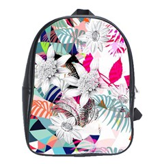 Flower Graphic Pattern Floral School Bag (large)