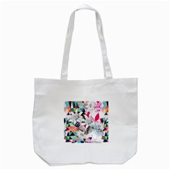 Flower Graphic Pattern Floral Tote Bag (white)