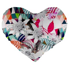Flower Graphic Pattern Floral Large 19  Premium Flano Heart Shape Cushions