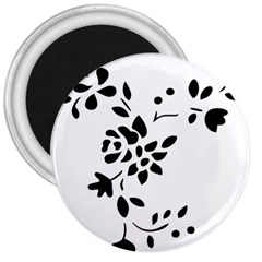Flower Rose Black Sexy 3  Magnets