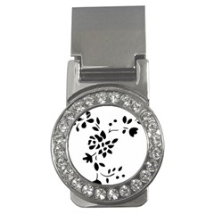 Flower Rose Black Sexy Money Clips (cz)