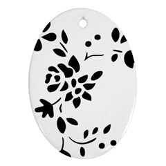 Flower Rose Black Sexy Oval Ornament (two Sides)