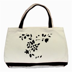 Flower Rose Black Sexy Basic Tote Bag (two Sides)