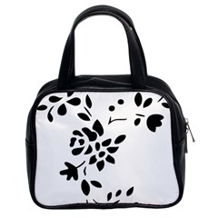 Flower Rose Black Sexy Classic Handbags (2 Sides)