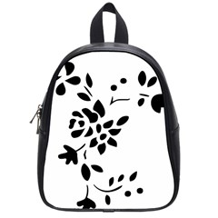 Flower Rose Black Sexy School Bag (small)