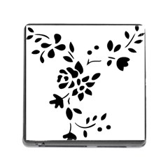 Flower Rose Black Sexy Memory Card Reader (square)