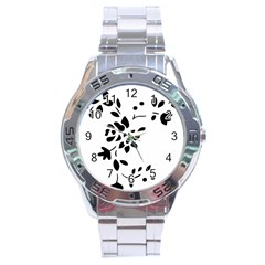 Flower Rose Black Sexy Stainless Steel Analogue Watch