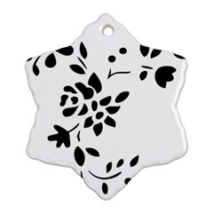 Flower Rose Black Sexy Snowflake Ornament (two Sides)