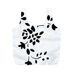 Flower Rose Black Sexy Full Print Recycle Bags (m)