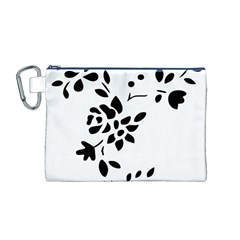 Flower Rose Black Sexy Canvas Cosmetic Bag (m)