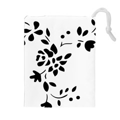 Flower Rose Black Sexy Drawstring Pouches (extra Large)