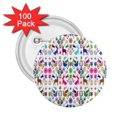 Birds Fish Flowers Floral Star Blue White Sexy Animals Beauty Rainbow Pink Purple Blue Green Orange 2 25  Buttons (100 Pack)