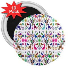 Birds Fish Flowers Floral Star Blue White Sexy Animals Beauty Rainbow Pink Purple Blue Green Orange 3  Magnets (10 Pack)
